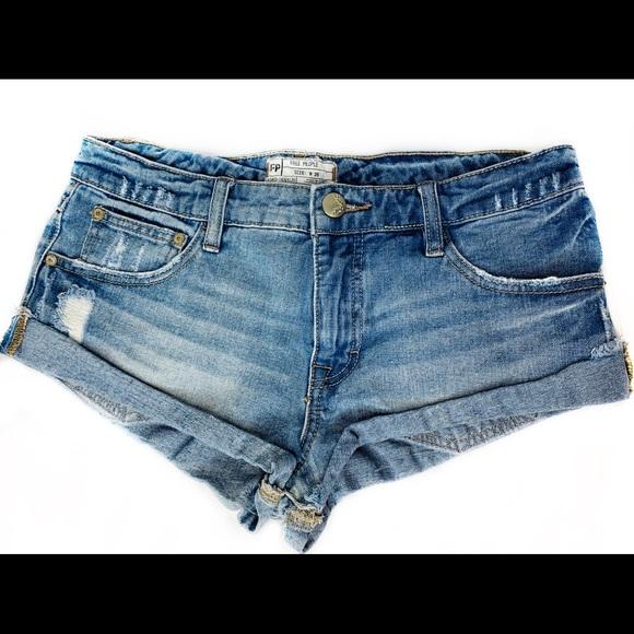 Free People Pants - Free People Denim Cuff Shorts Distressed Low Rise